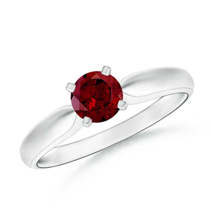 Tapered Shank Garnet Solitaire Ring with Four Prong - Angara.com