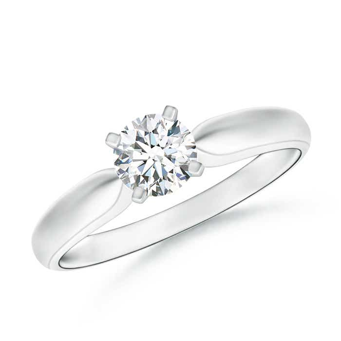 Tapered Shank Moissanite Solitaire Ring with Four Prong - Angara.com
