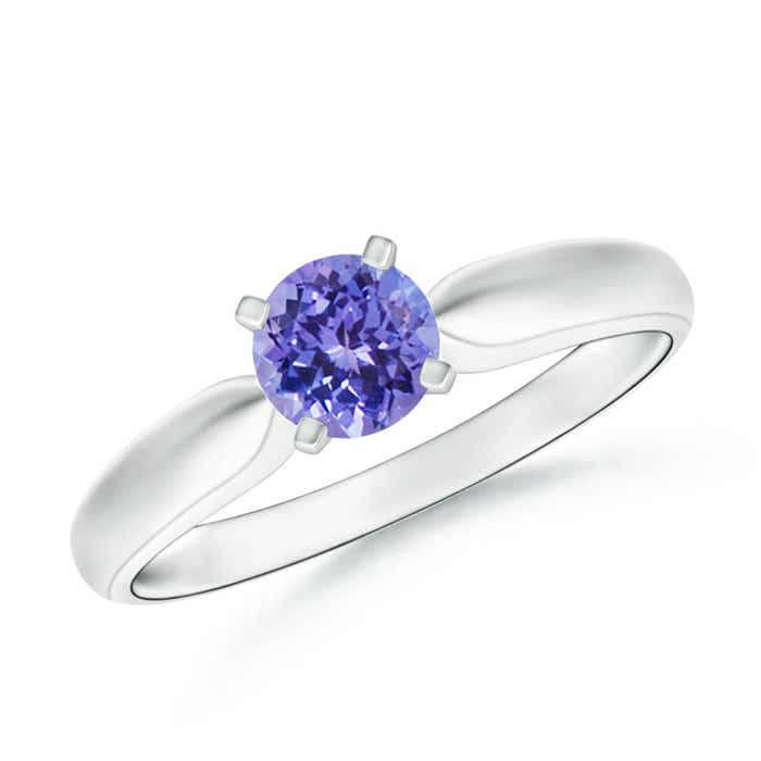 Tapered Shank Tanzanite Solitaire Ring with Four Prong - Angara.com