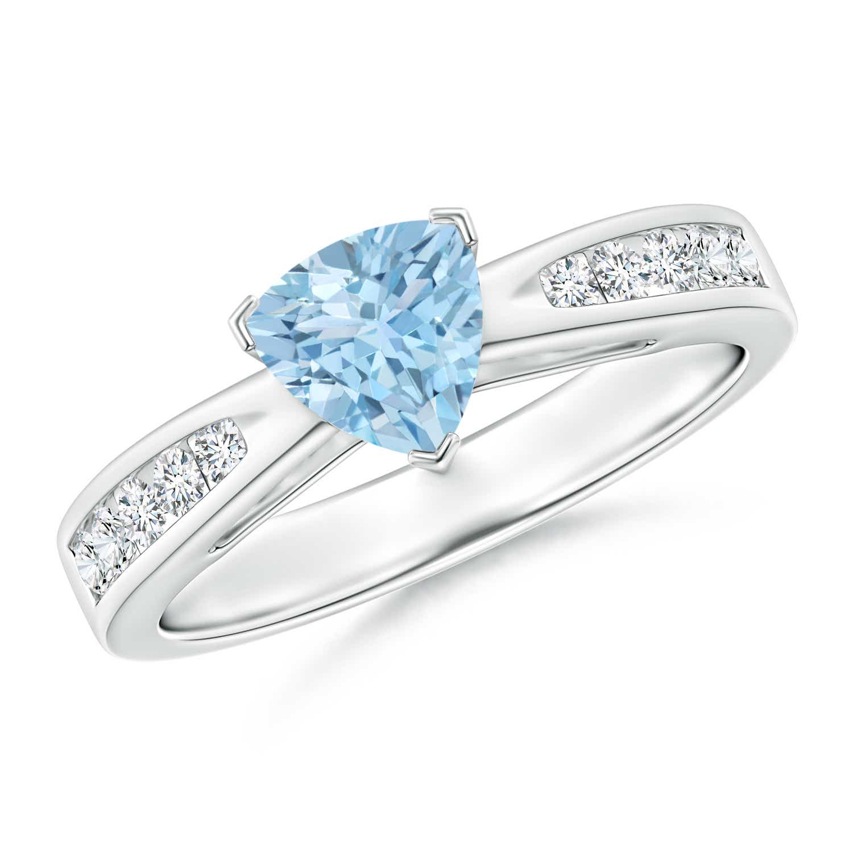 Trillion Aquamarine Solitaire Ring with Diamond Accents - Angara.com