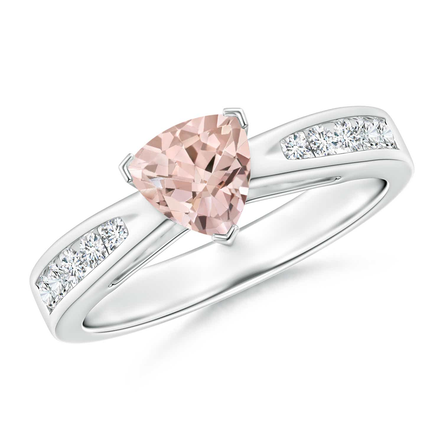 Angara Trillion Morganite Solitaire Ring with Diamond Accents