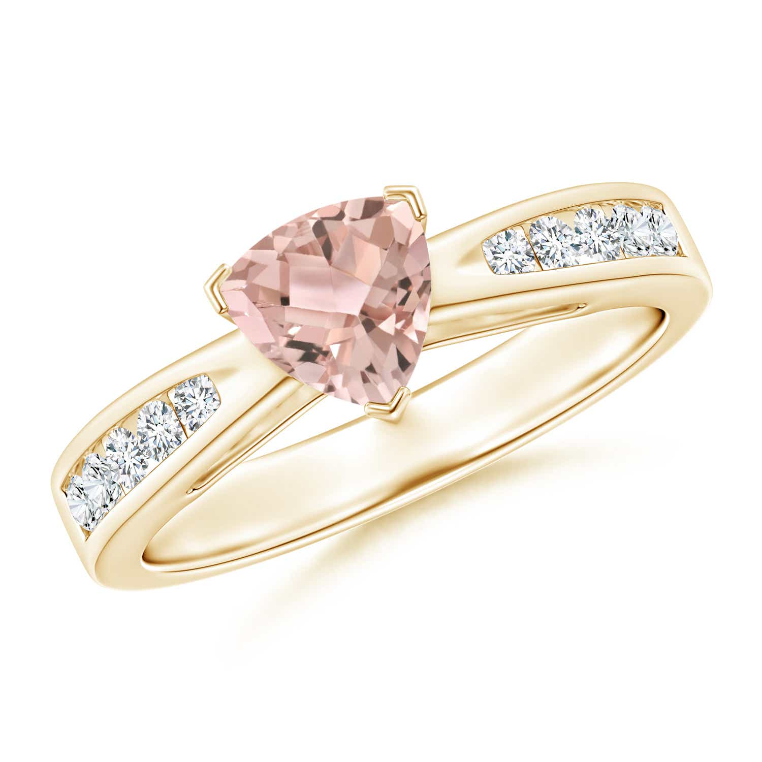 Trillion Morganite Solitaire Ring with Diamond Accents