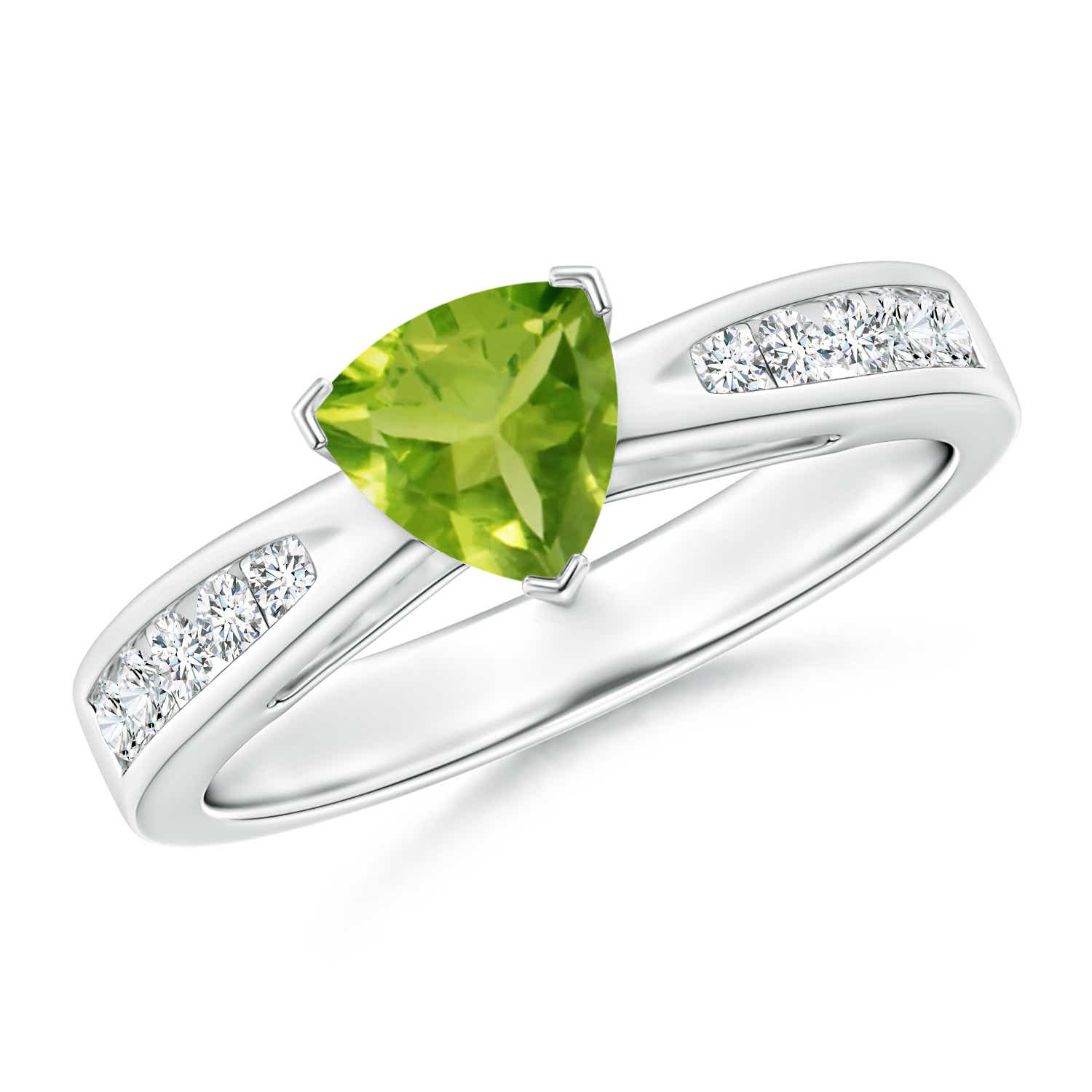 Trillion Peridot Solitaire Ring with Diamond Accents - Angara.com