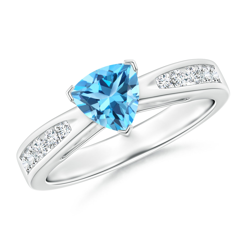 Trillion Swiss Blue Topaz and Diamond Cathedral Ring - Angara.com