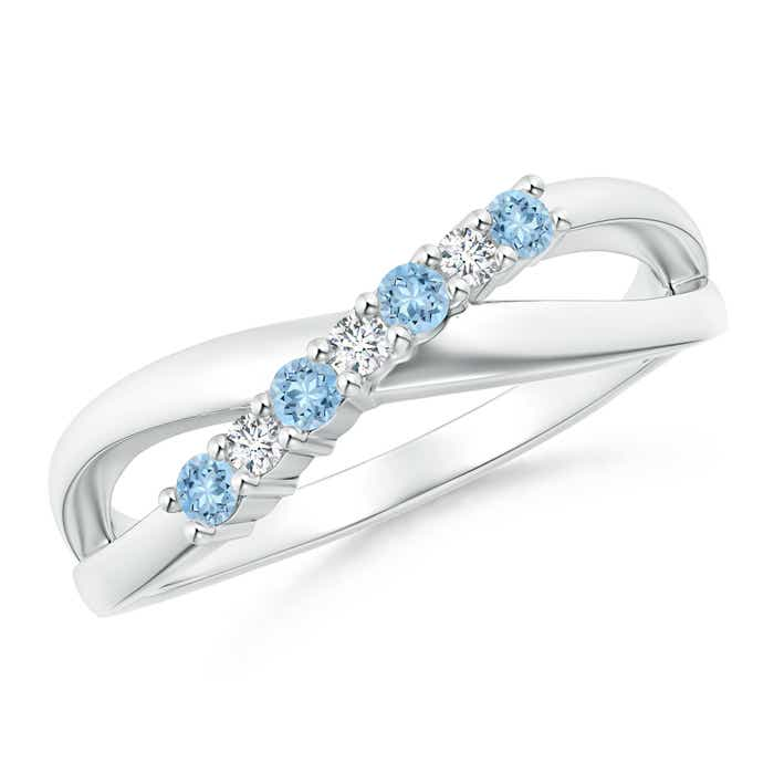 Round Aquamarine and Diamond Crossover Ring - Angara.com