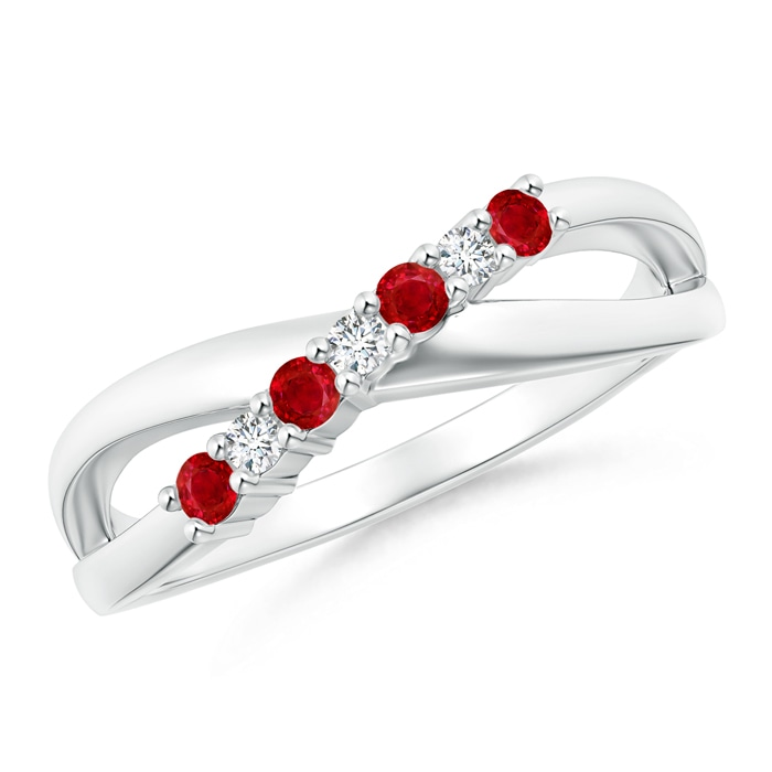 Angara Four Prong Solitaire Oval Natural Ruby Split Shank Ring in Platinum 2lJCoqWU9
