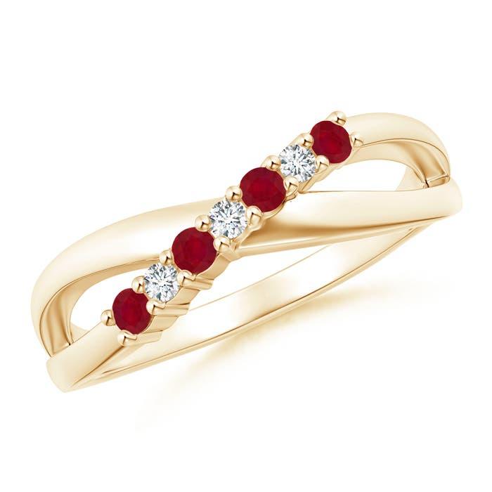 Angara Ruby and Diamond Crossover Split Shank Ring 14K Yellow Gold hqCzPw