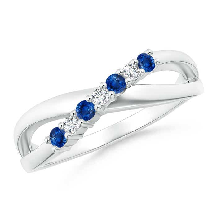 Round Blue Sapphire and Diamond Crossover Ring - Angara.com