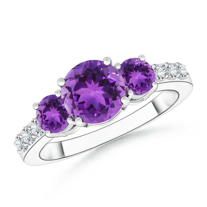 Three Stone Round Amethyst Ring with Diamond Accents - Angara.com