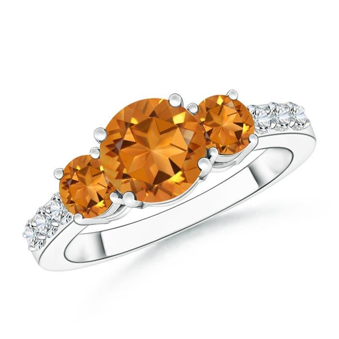 Three Stone Round Citrine Ring with Diamond Accents - Angara.com
