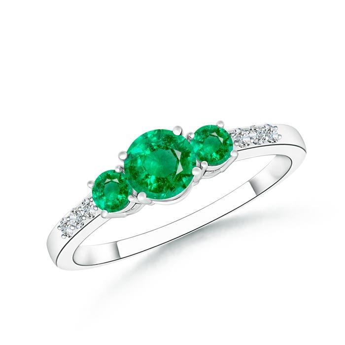 Three Stone Round Emerald Ring with Diamond Accents - Angara.com