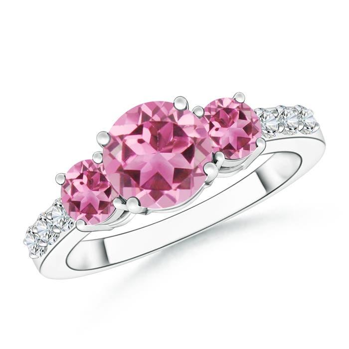 Three Stone Round Pink Tourmaline Ring with Diamond Accents - Angara.com