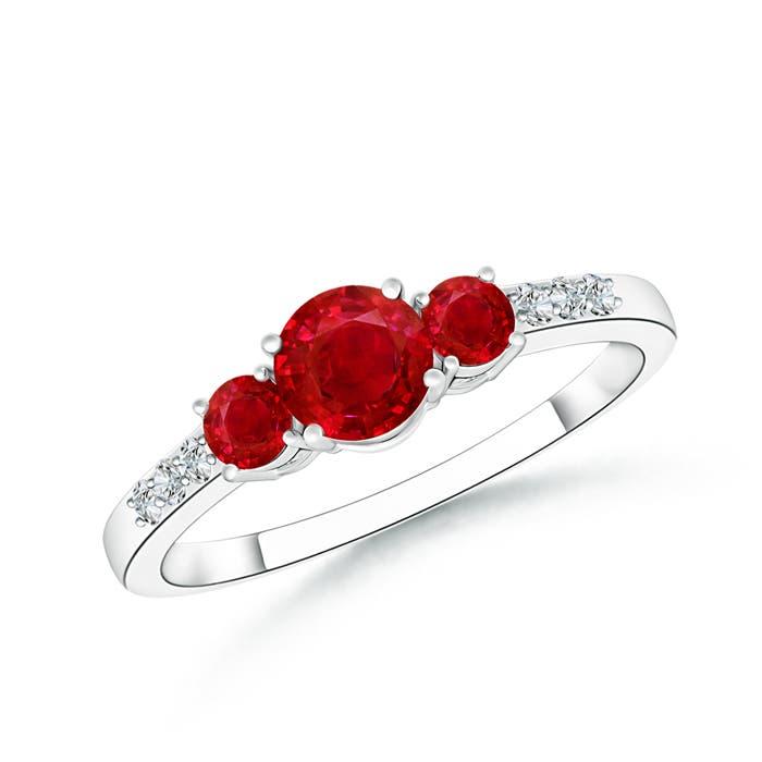 Three Stone Round Ruby Ring with Diamond Accents - Angara.com