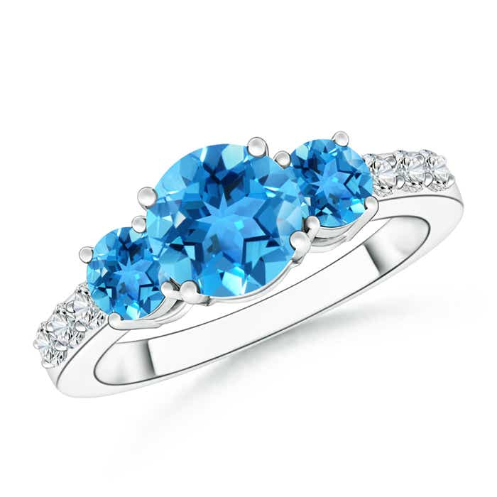 Three Stone Round Swiss Blue Topaz Ring with Diamond Accents - Angara.com