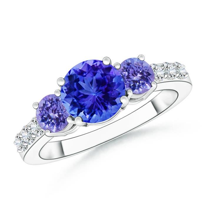 Three Stone Round Tanzanite Ring with Diamond Accents - Angara.com