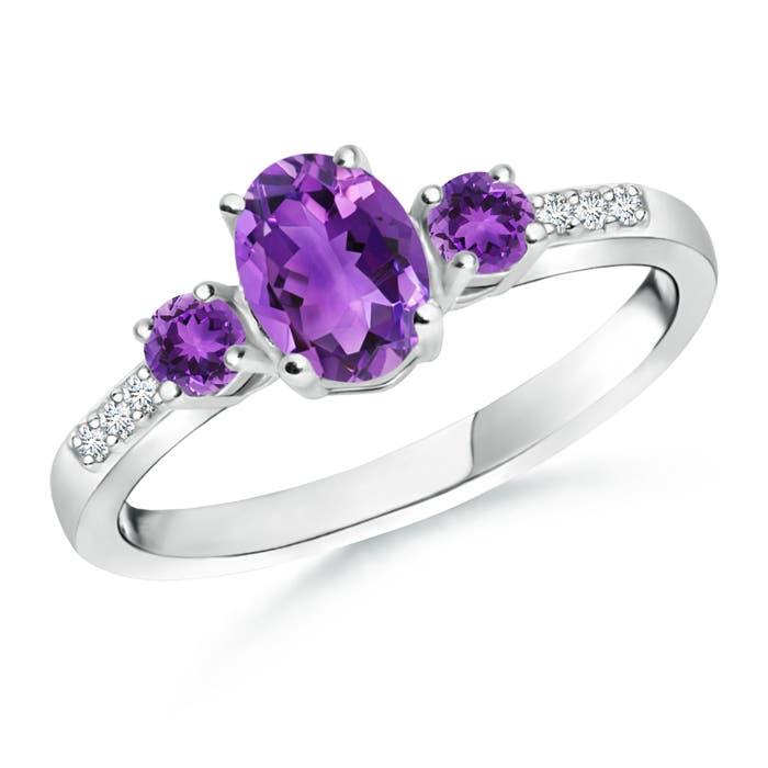 Oval Amethyst Three Stone Ring with Diamond Accents - Angara.com