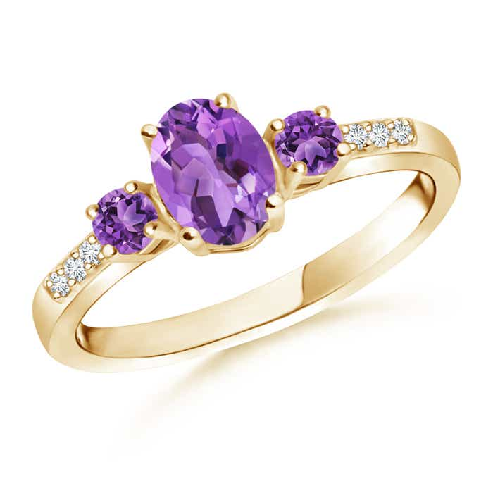 Angara Natural Amethyst and Diamond Three Stone Ring in White Gold BjMXxUQ