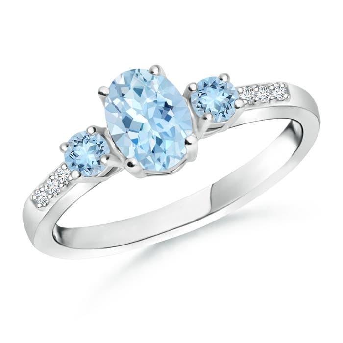 Oval Aquamarine Three Stone Ring with Diamond Accents - Angara.com