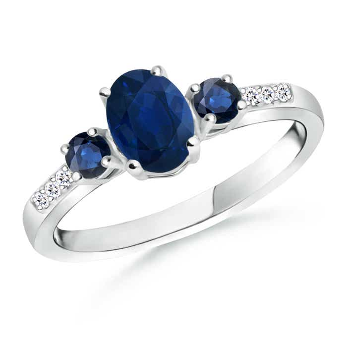 Oval Sapphire Three Stone Ring with Diamond Accents - Angara.com