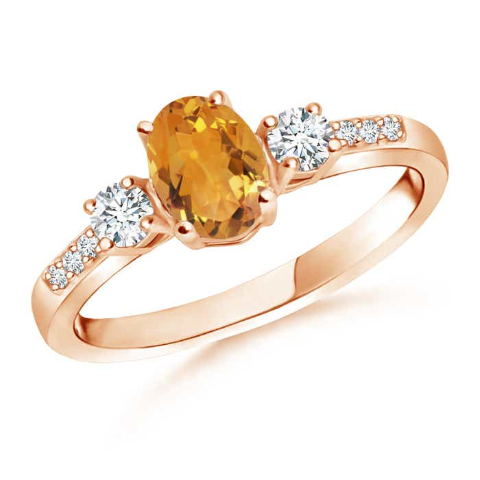 Angara Natural Citrine and Diamond Three Stone Ring in White Gold RfQFTgF77