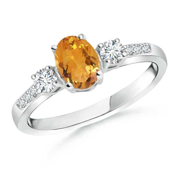 Angara Natural Citrine and Diamond Three Stone Ring in White Gold