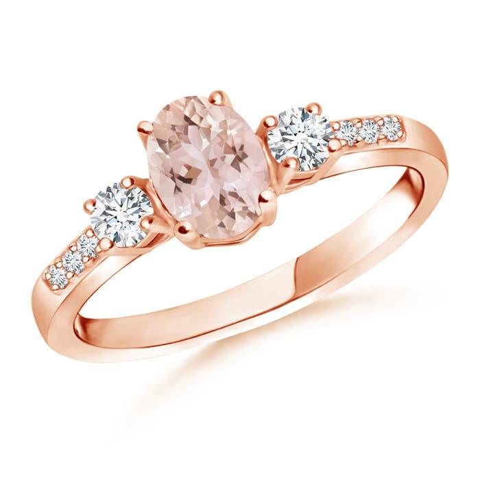 Classic Oval Morganite and Diamond Three Stone Ring - Angara.com