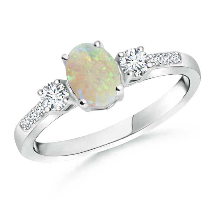 Classic Oval Opal and Diamond Three Stone Ring - Angara.com
