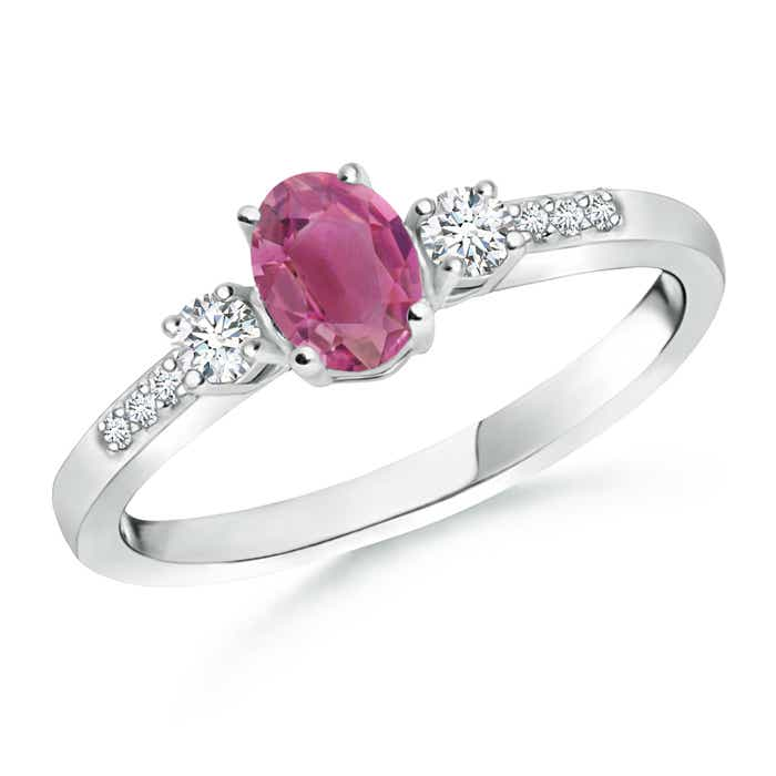 Angara Solitaire Pink Tourmaline Ring with Diamond in Platinum AXi1L