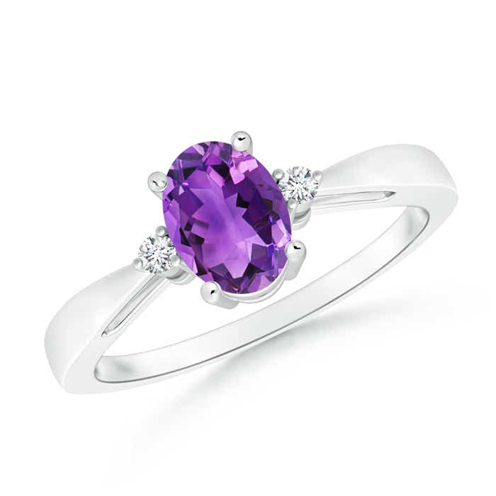 Tapered Shank Amethyst Solitaire Ring with Diamond Accents - Angara.com