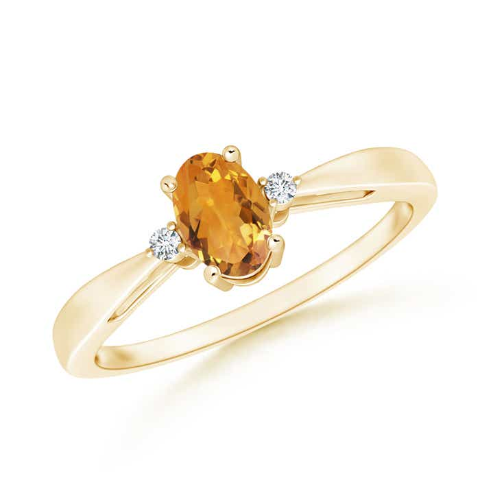 Angara Natural Citrine Solitaire Ring in Platinum QTG2Hbf