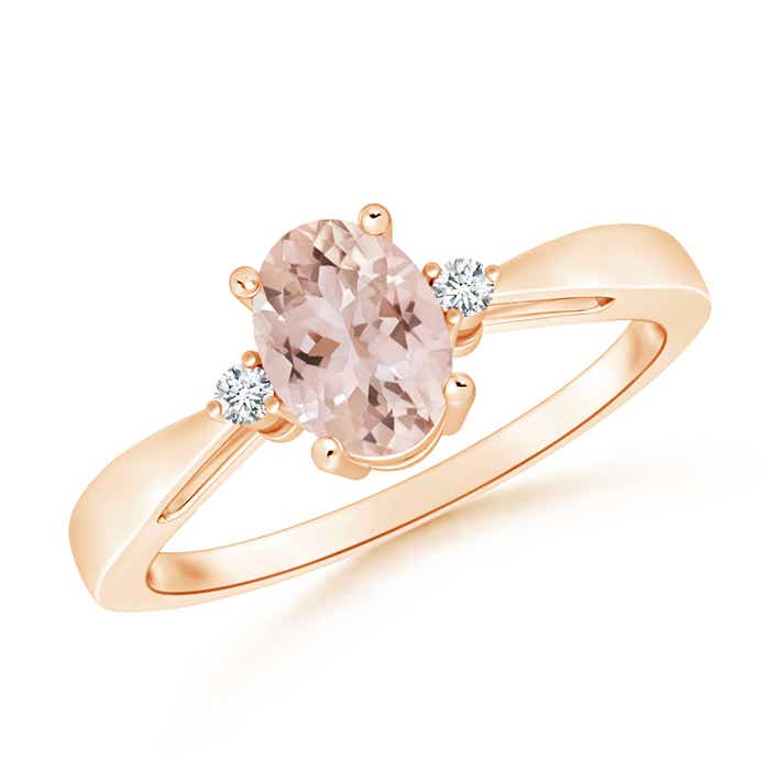 Tapered Shank Morganite Solitaire Ring with Diamond Accents - Angara.com