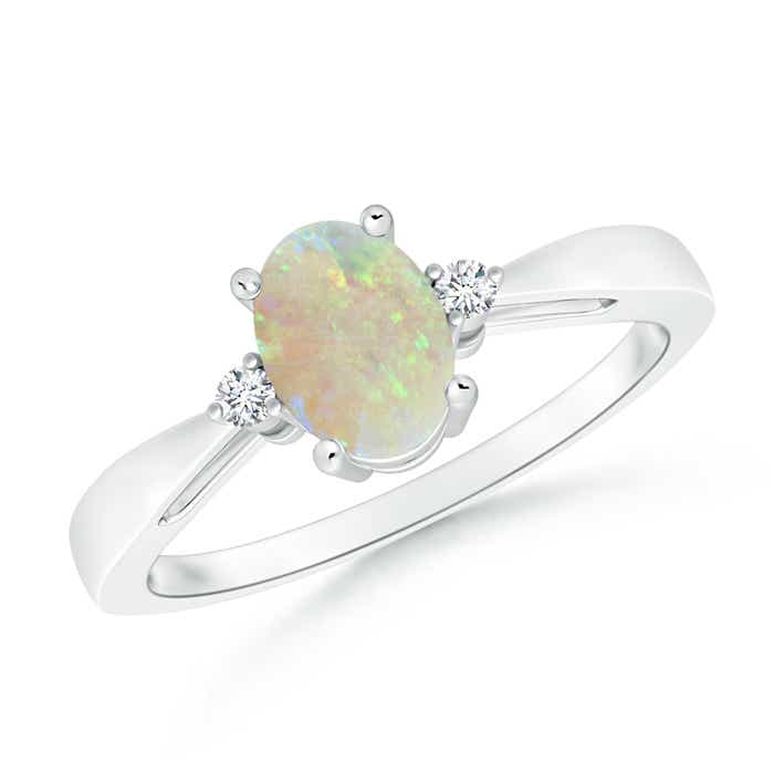 Tapered Shank Opal Solitaire Ring with Diamond Accents - Angara.com