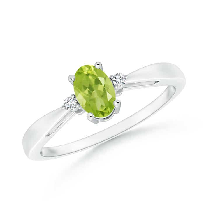Angara Natural Peridot Solitaire Engagement Ring in White Gold