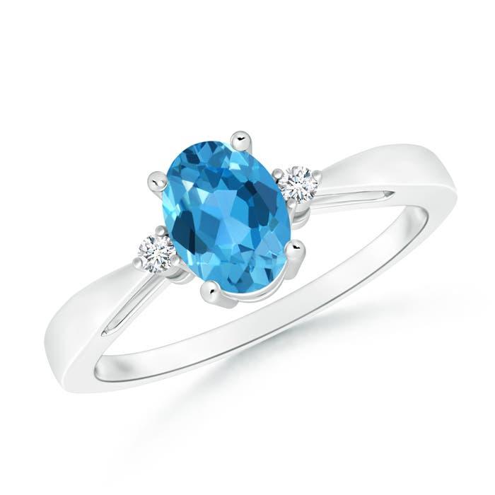 Swiss Blue Topaz Reverse Tapered Shank Ring with Diamonds - Angara.com