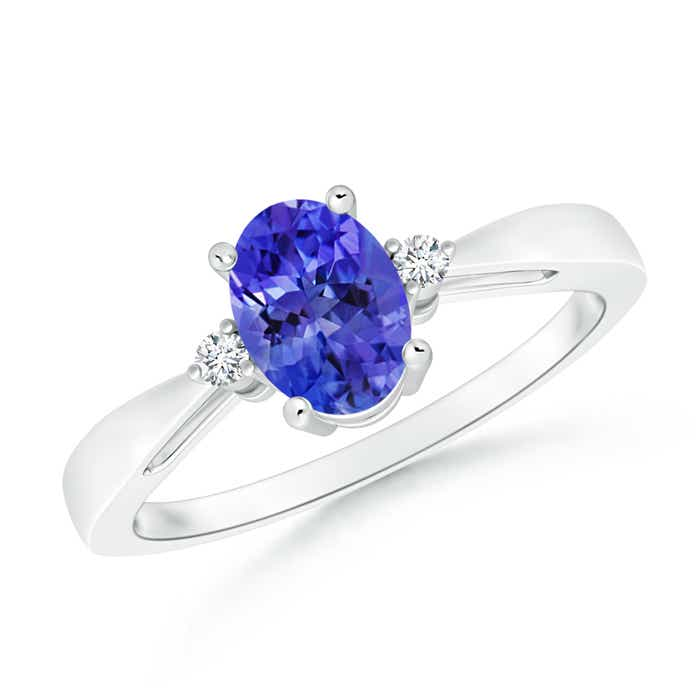 Tapered Shank Tanzanite Solitaire Ring with Diamond Accents - Angara.com