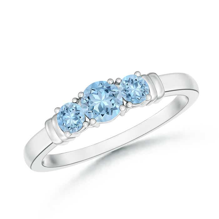 Angara Classic Aquamarine Triple Cluster Ring in Platinum HCYn6VF6