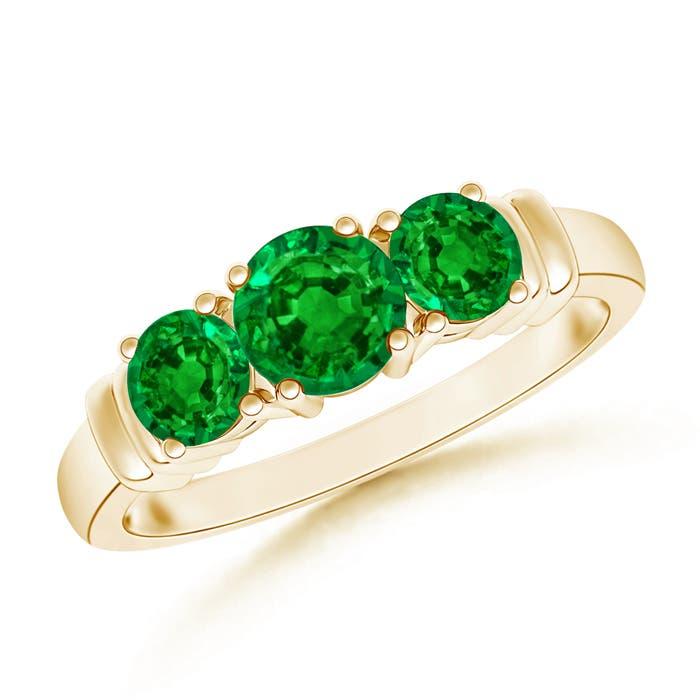 Emerald Wedding Band.Vintage Style Three Stone Emerald Wedding Band