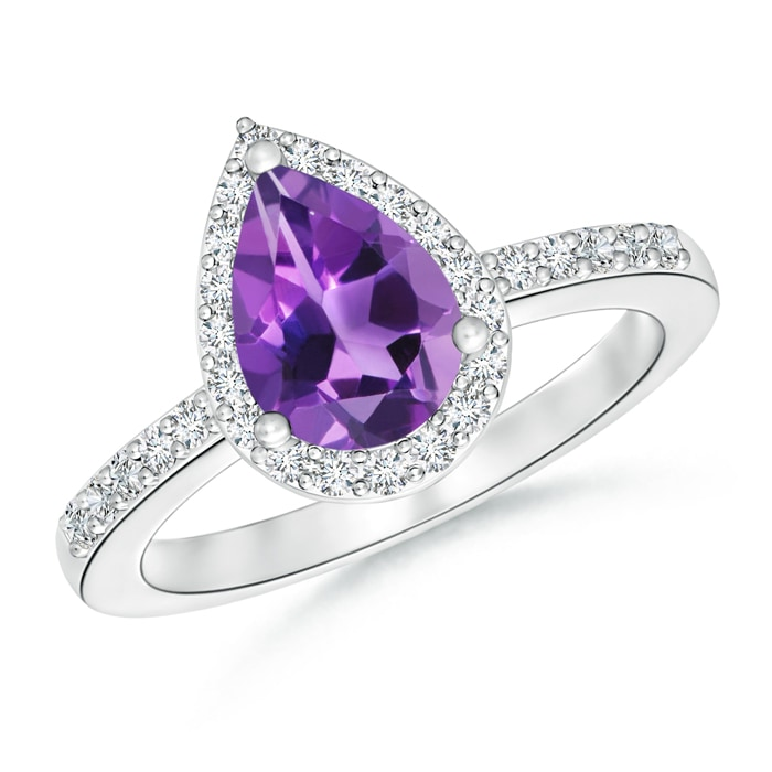 Pear Shaped Amethyst Ring with Diamond Halo - Angara.com