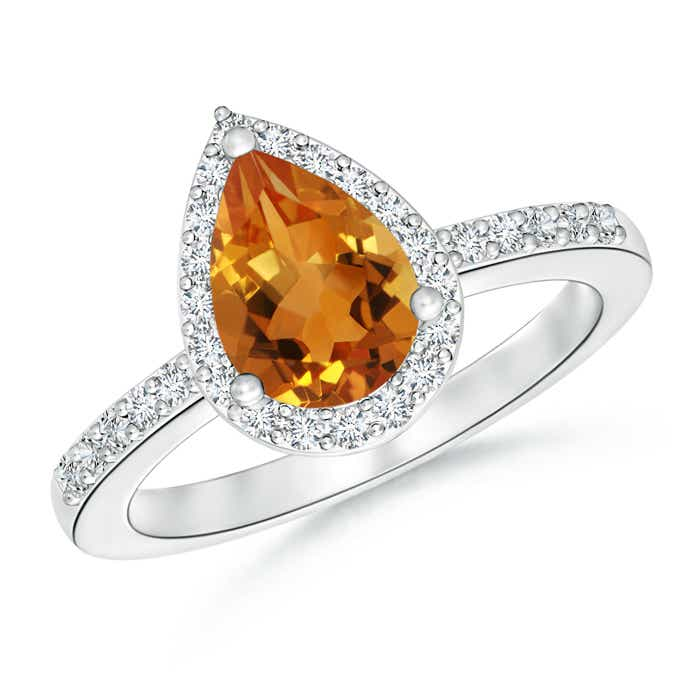 Pear Shaped Citrine Ring with Diamond Halo - Angara.com