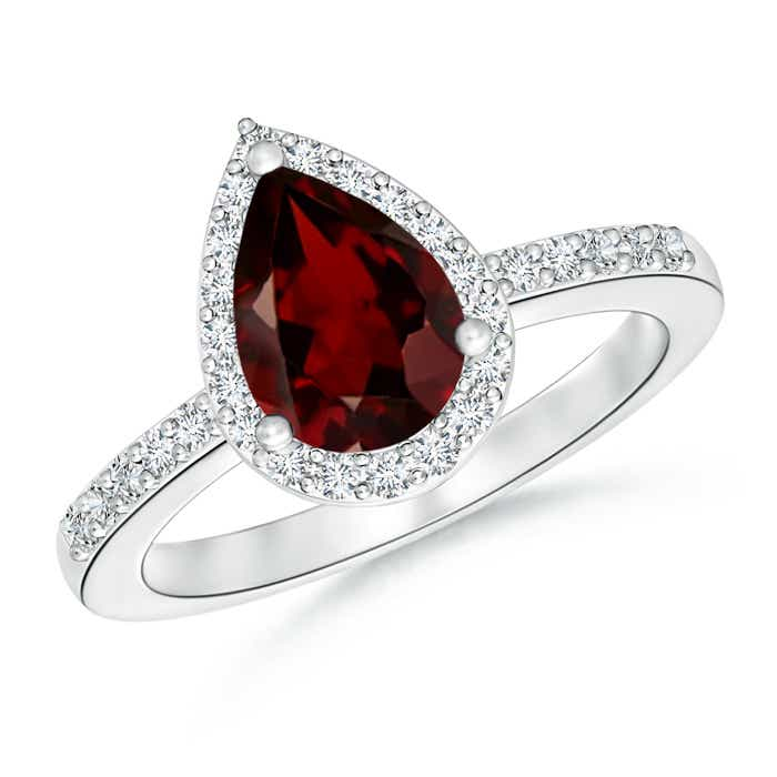 Pear Shaped Garnet Ring with Diamond Halo - Angara.com