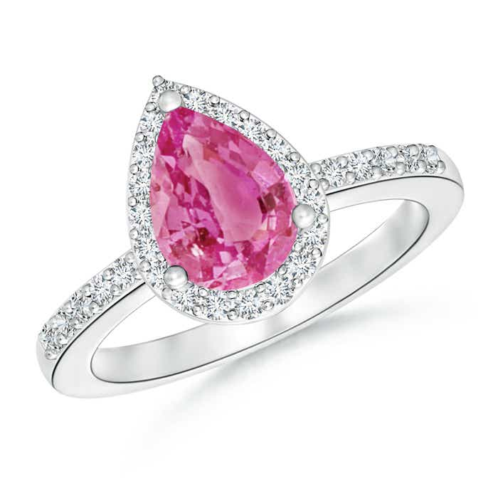 Angara Pink Sapphire and Diamond Halo Engagement Ring in Platinum xn0z4G