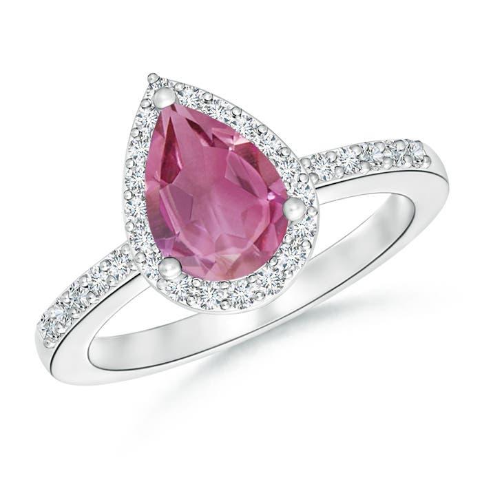 Angara Milgrain Diamond Emerald-Cut Pink Tourmaline Vintage Stud Earrings S6HtIL