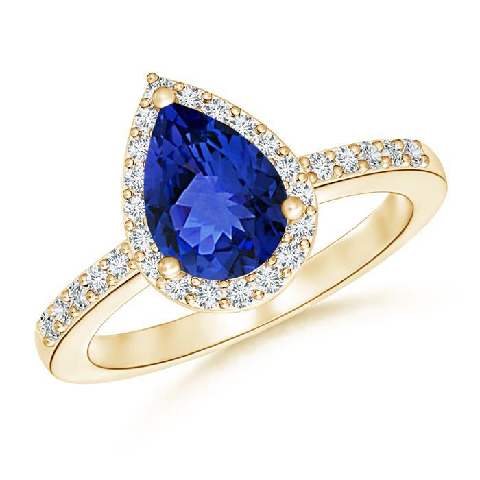 Diamond Halo Tanzanite: Best AAA Natural Tanzanite Diamond Halo Engagement Ring