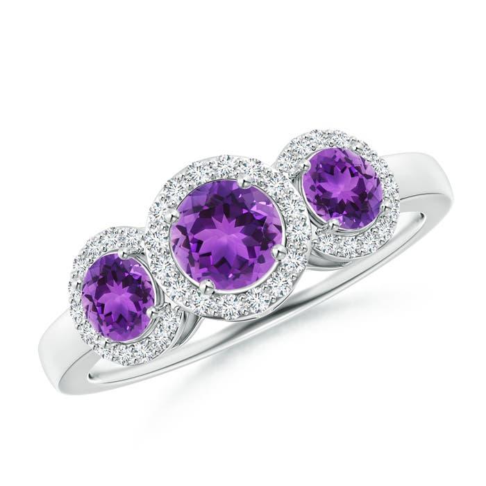 Round Amethyst Three Stone Halo Ring with Diamonds - Angara.com