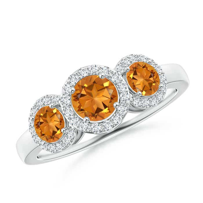 Round Citrine Three Stone Halo Ring with Diamonds - Angara.com
