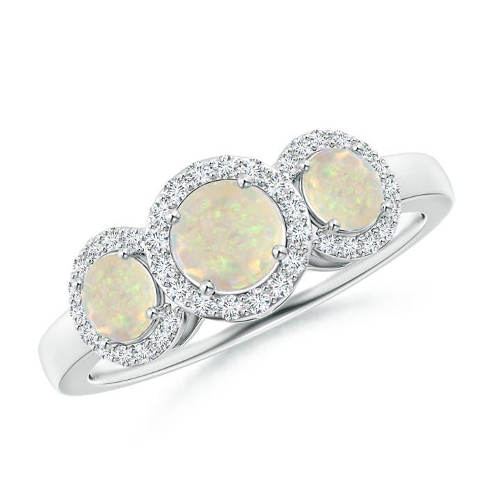 Three Stone Opal Halo Ring With Diamond Border - Angara.com