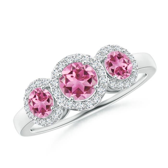 Round Pink Tourmaline Three Stone Halo Ring with Diamonds - Angara.com