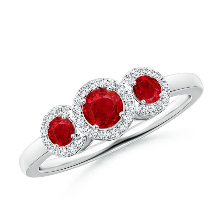 Three Stone Ruby Halo Ring With Diamond Border - Angara.com