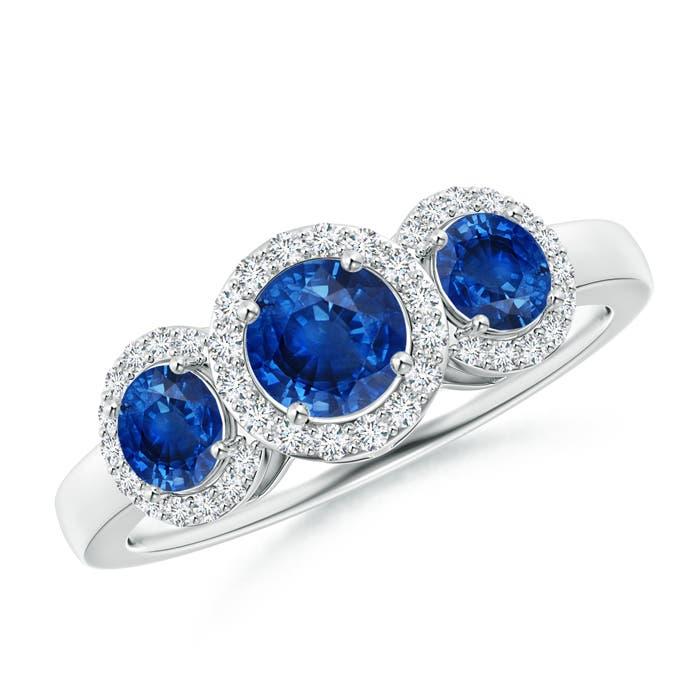 Three Stone Blue Sapphire Halo Ring With Diamond Border - Angara.com