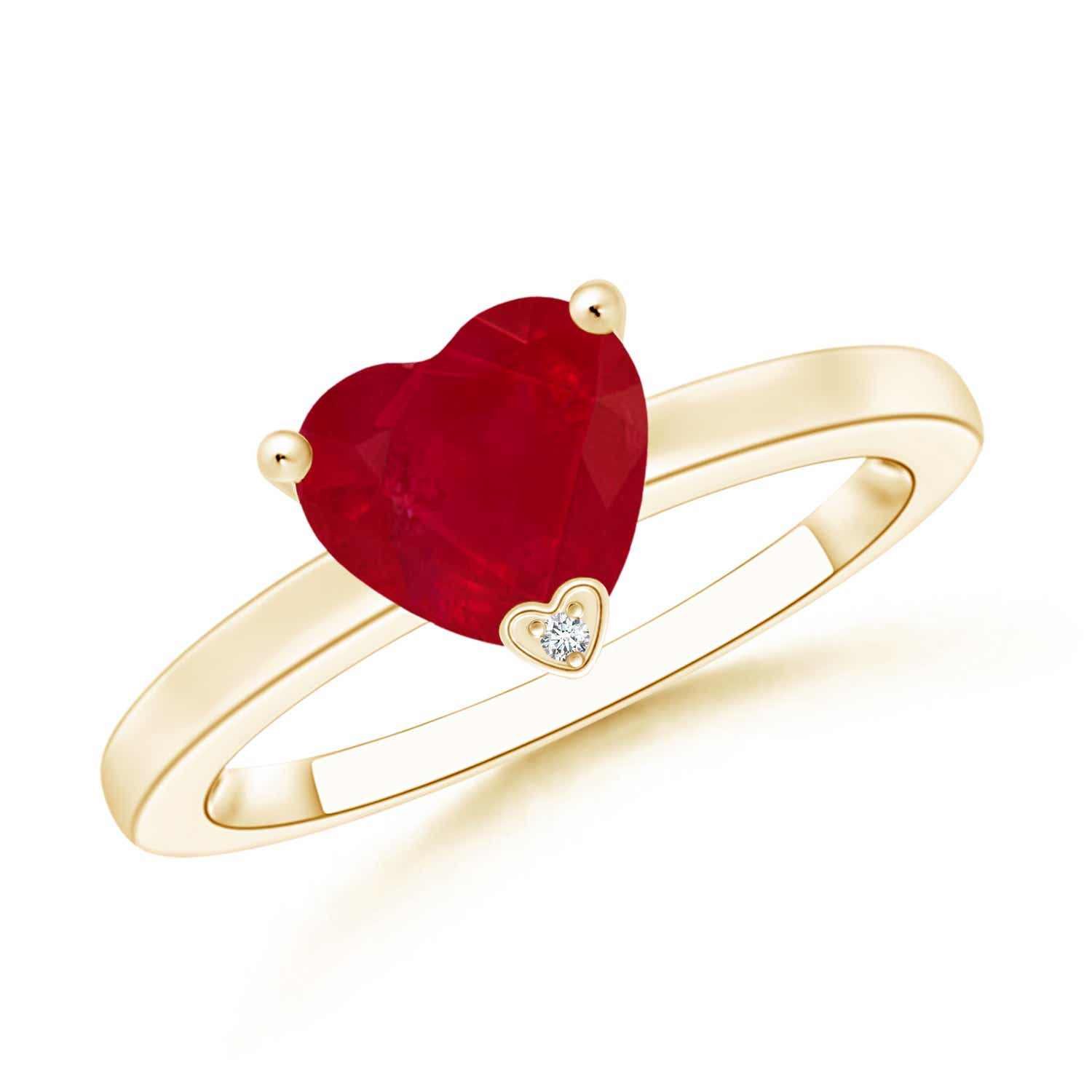 Angara Heart Ruby Ring in 14k Yellow Gold T4owV